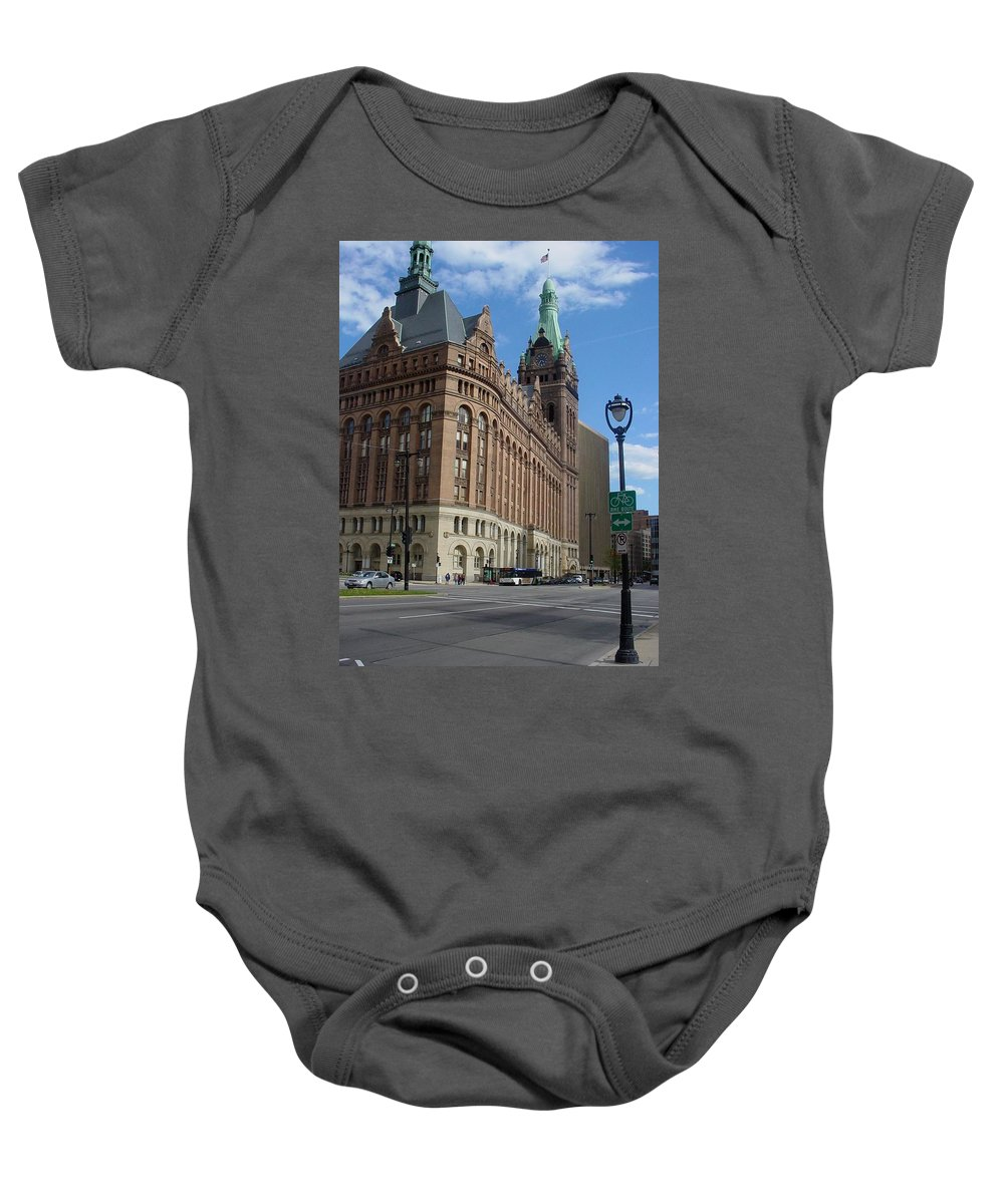 Milwaukee Baby Onesie featuring the photograph City Hall And Lamp Post by Anita Burgermeister