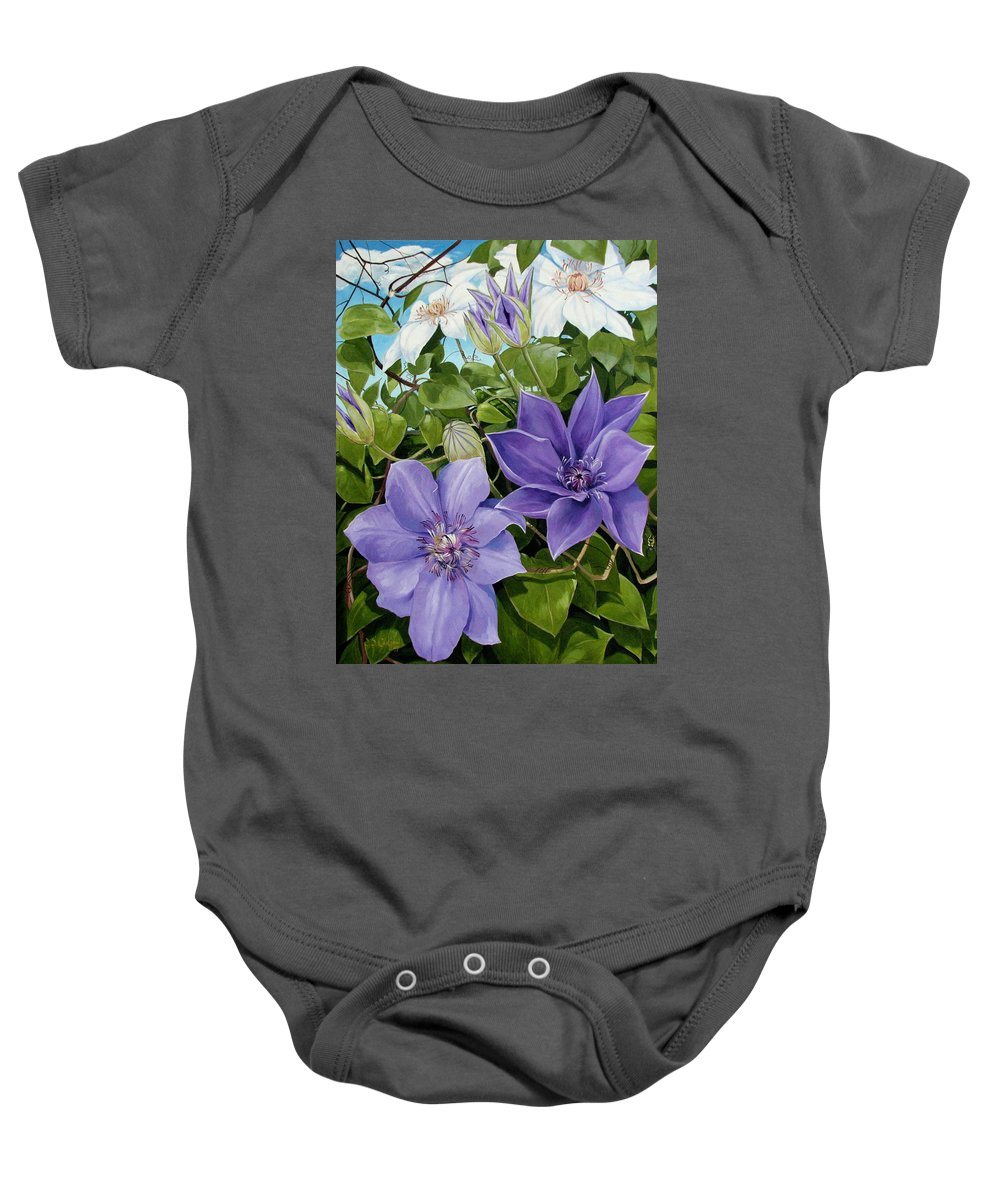 Clematis Baby Onesie featuring the painting Clematis 2 by Jerrold Carton