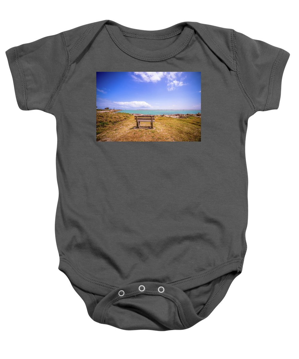Beach Baby Onesie featuring the photograph Coastal Landscape Near Padre Island Texas by Alex Grichenko