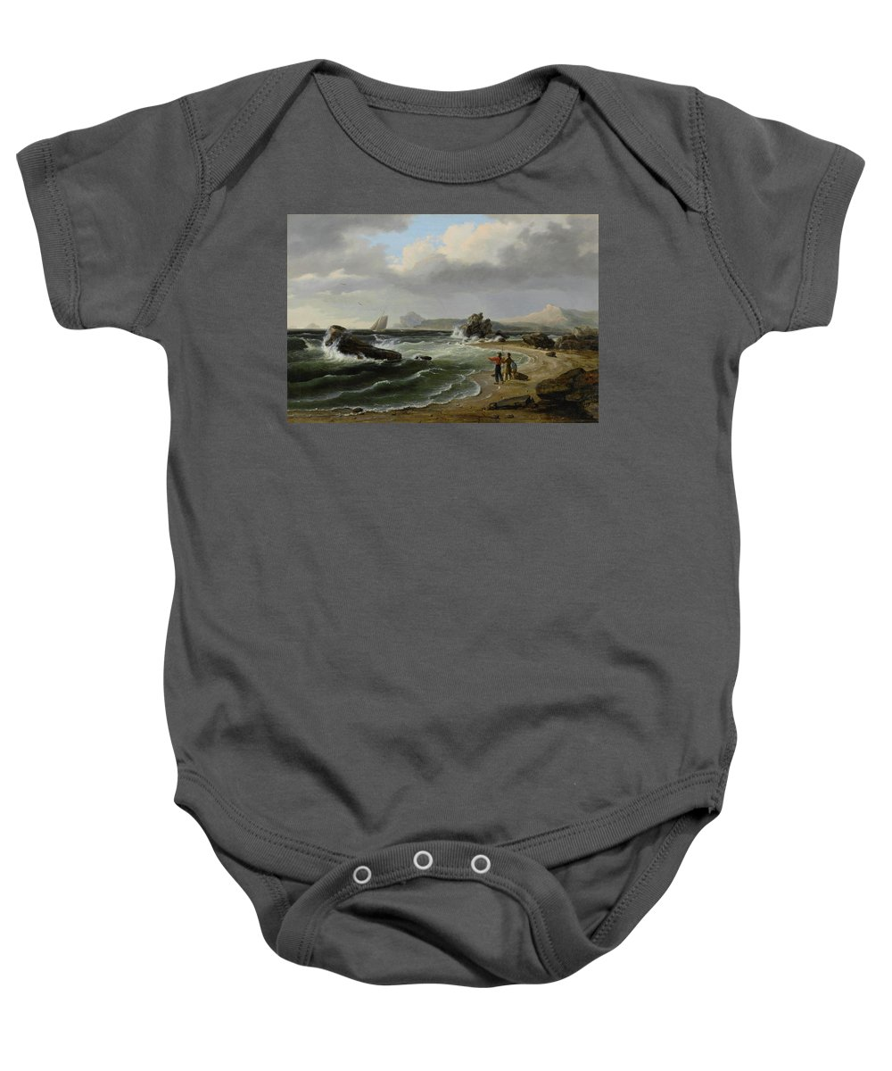 Thomas Birch (1779 - 1851) Coastal Scene Baby Onesie featuring the painting Coastal Scene by Thomas Birch