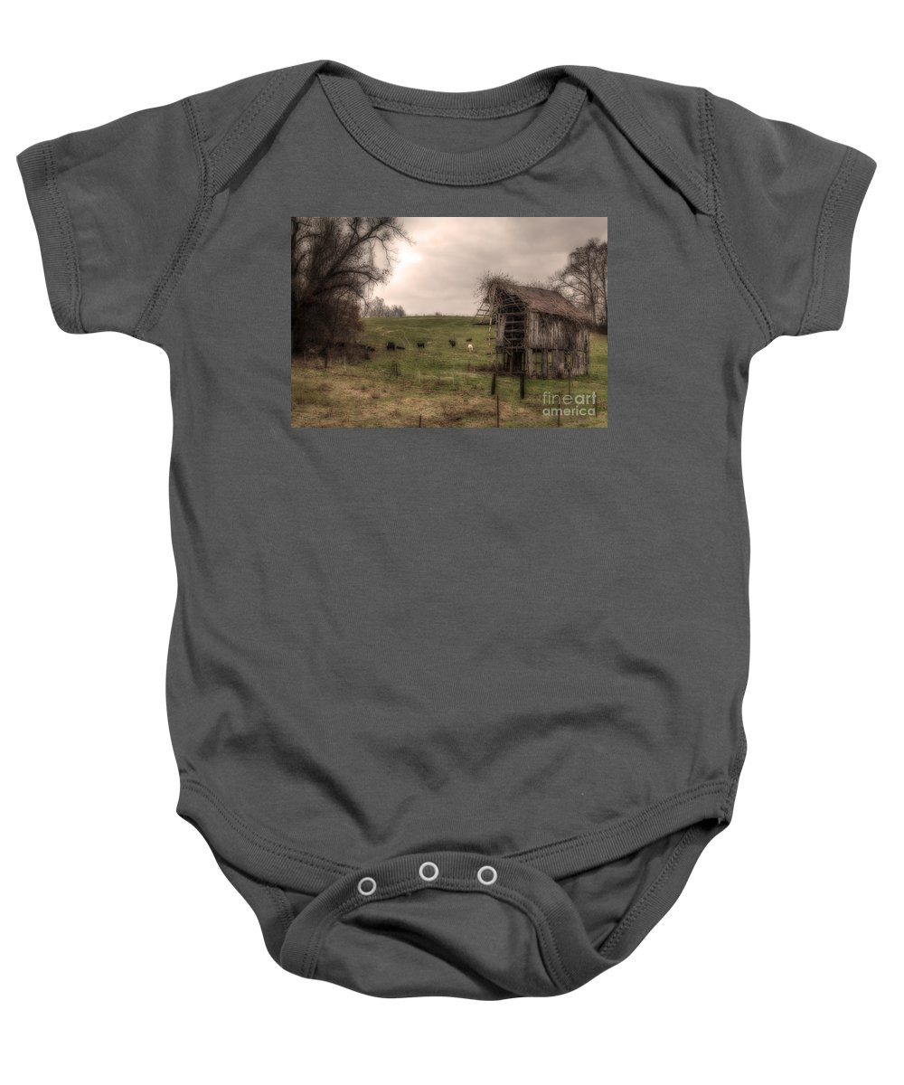 2014 Baby Onesie featuring the photograph Cows In A Field By A Barn by Larry Braun
