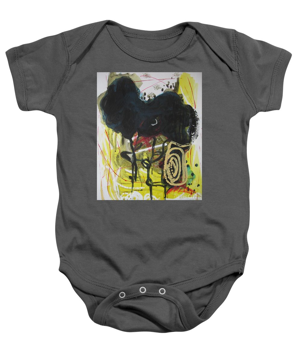 Abstract Paintings Baby Onesie featuring the painting Crescent2 by Seon-Jeong Kim