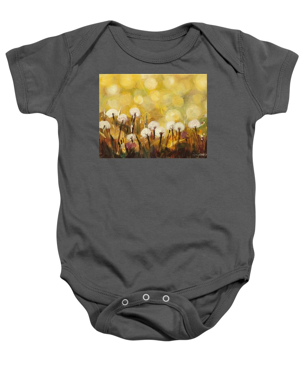 Dandelions Baby Onesie featuring the painting Dandelions by Jun Jamosmos