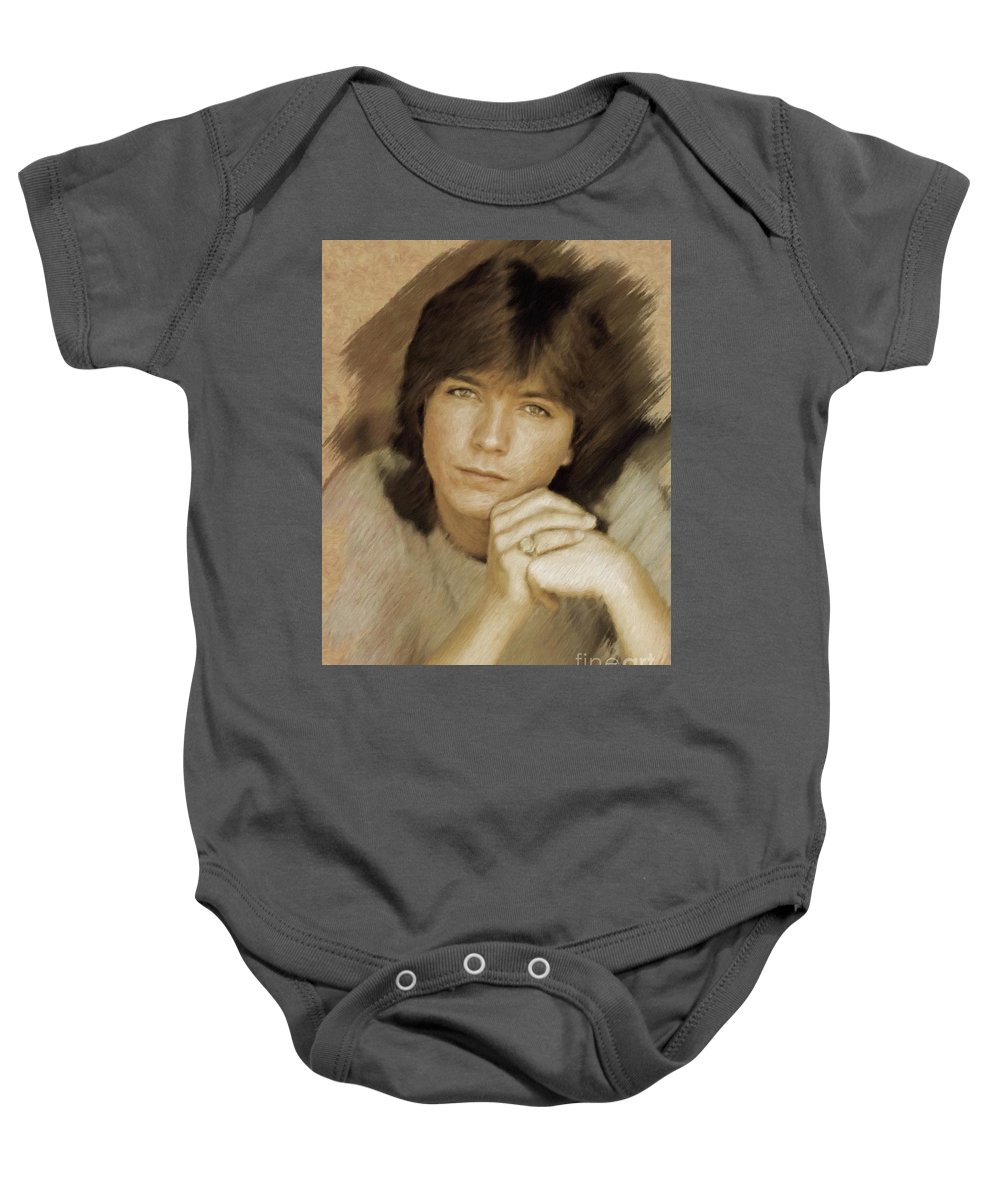 David Baby Onesie featuring the painting David Cassidy, Actor by Mary Bassett