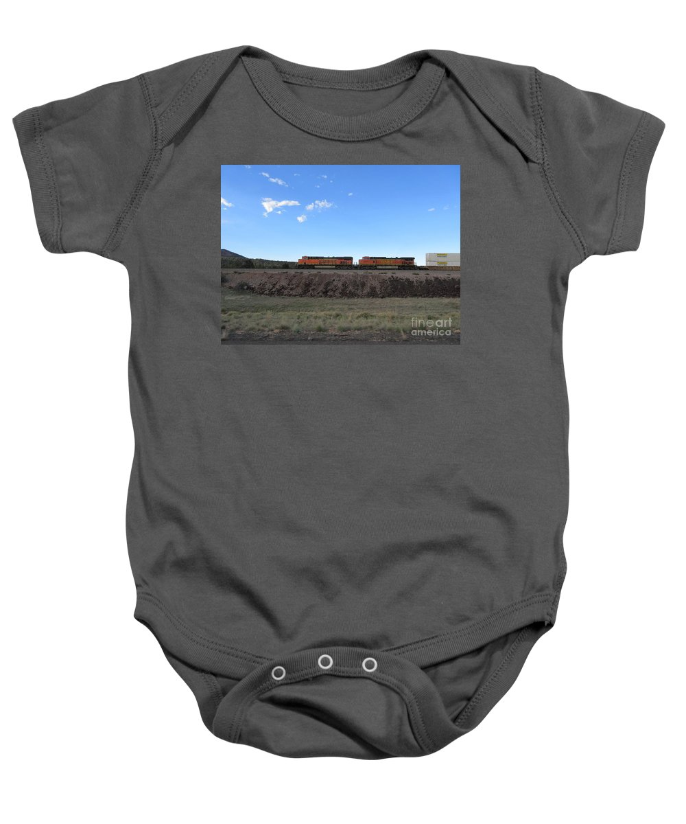Diesel Baby Onesie featuring the photograph Diesel Train Engines by Frederick Holiday