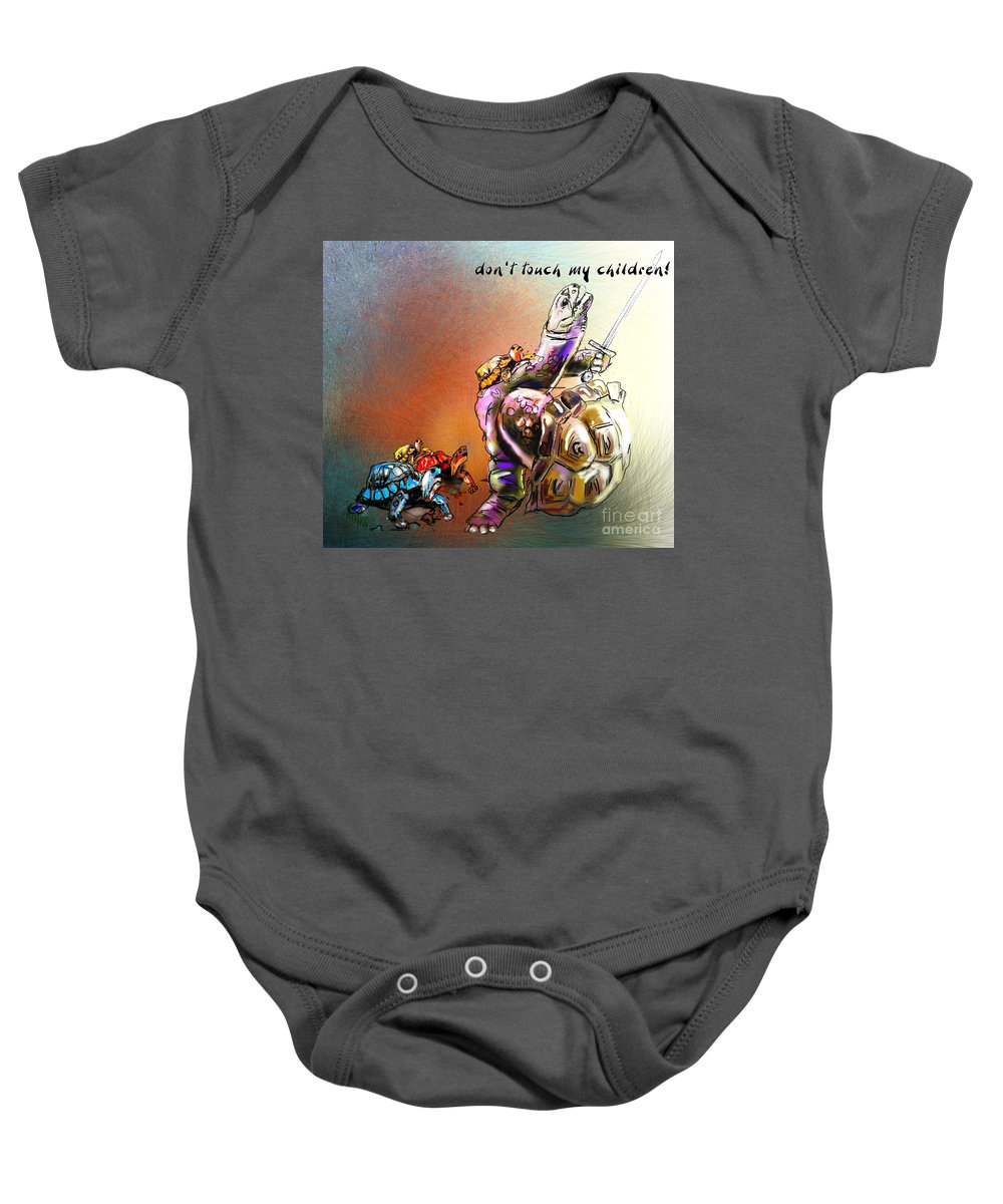 Turtle Painting Baby Onesie featuring the digital art Don by Miki De Goodaboom