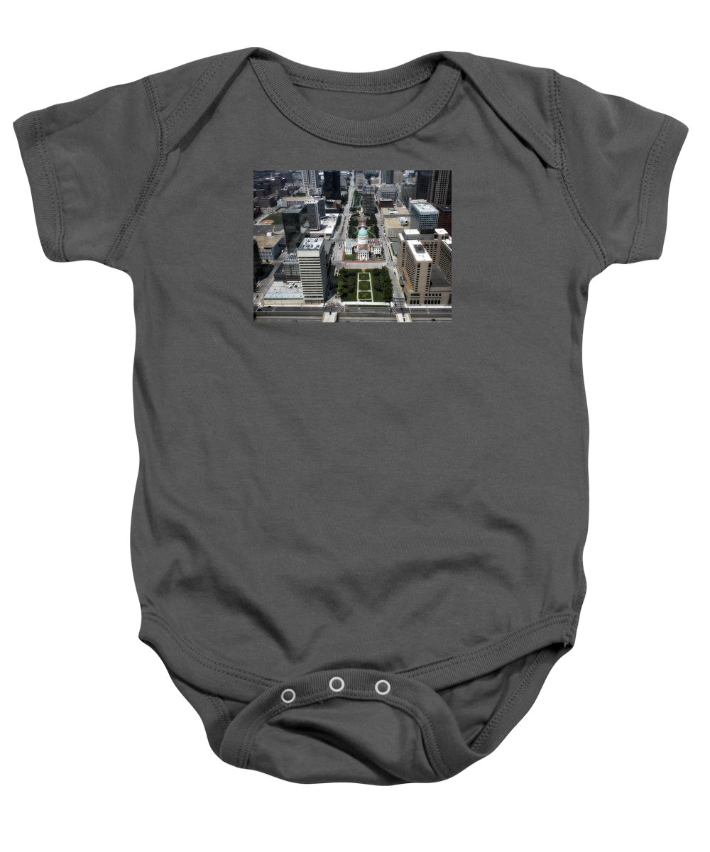 St Louis Baby Onesie featuring the photograph Downtown St Louis by Thomas Woolworth