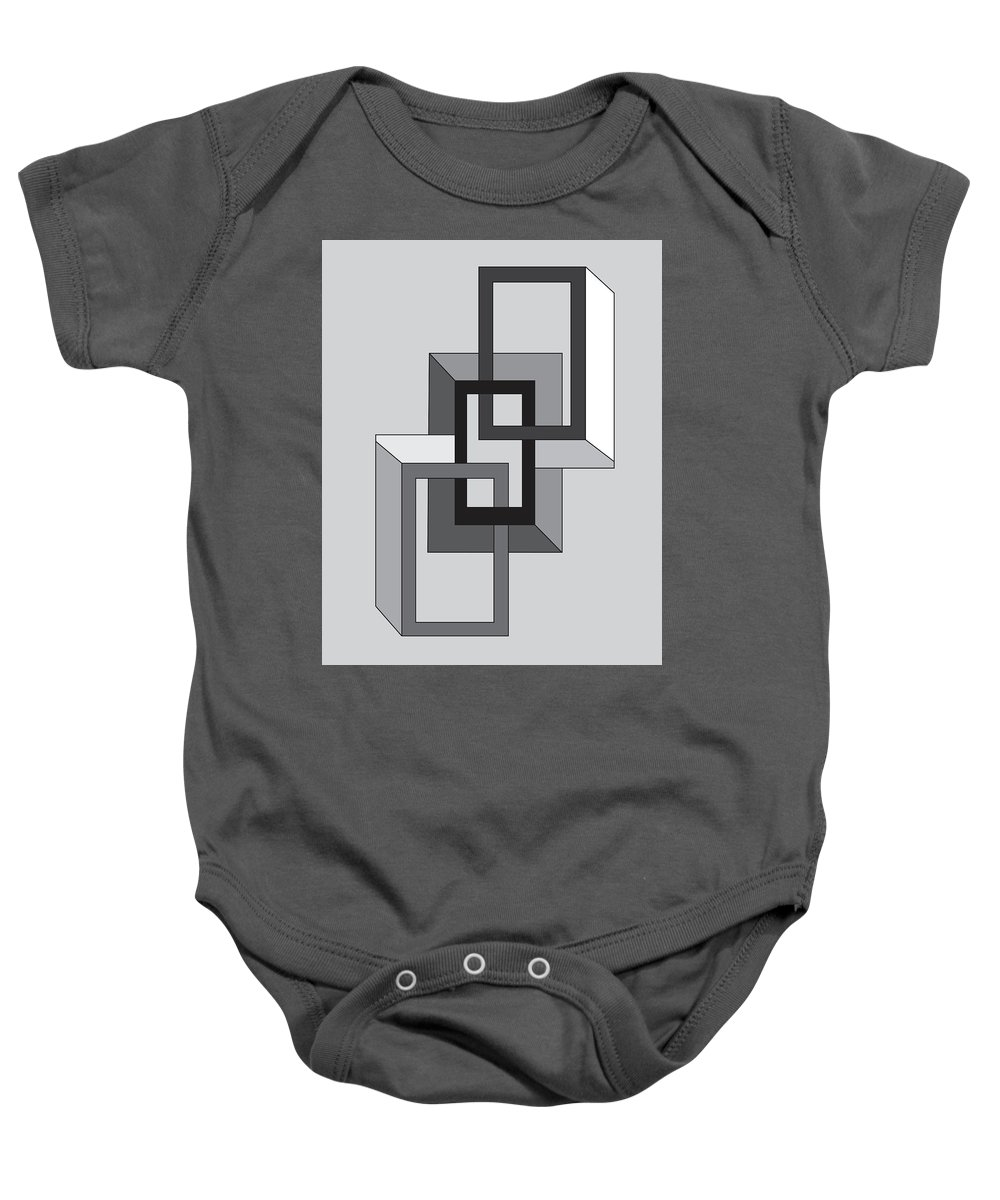 Illustration Baby Onesie featuring the drawing Drawn2shapes2bnw by Maggie Mijares