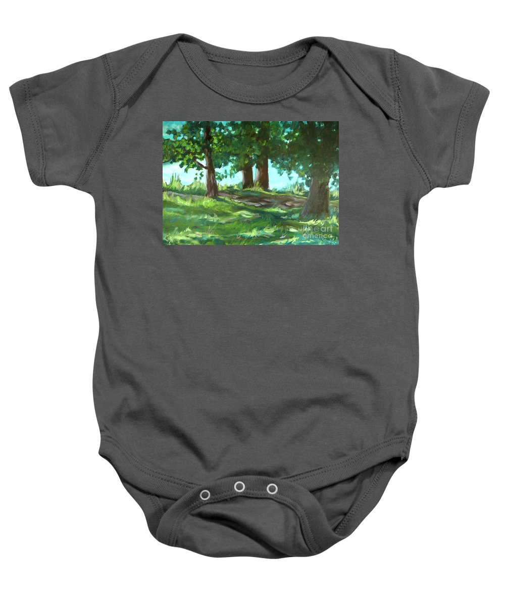 Expressionist Landscape Baby Onesie featuring the painting Dreaming On Fellows Lake by Jan Bennicoff