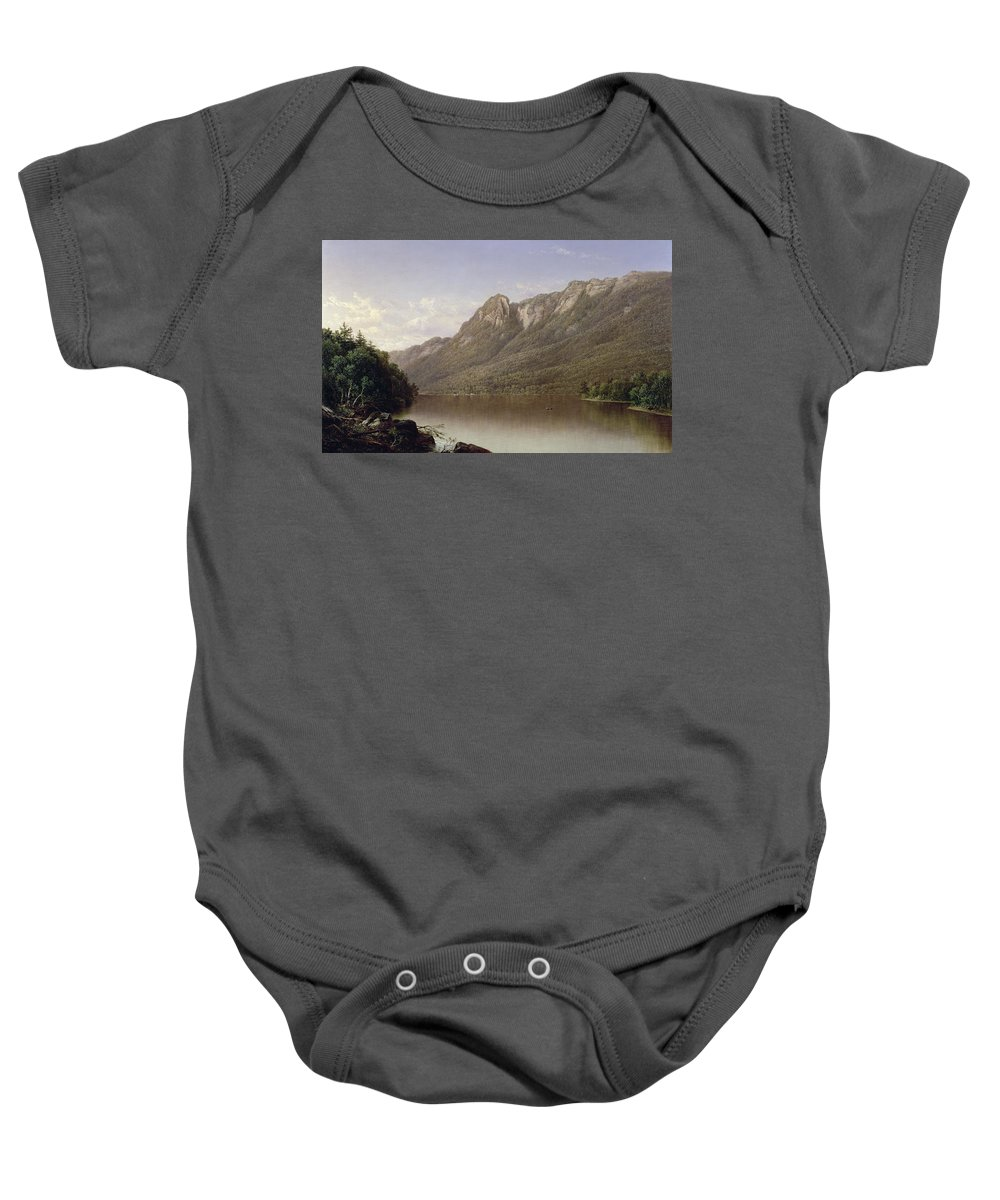Eagle Cliff Baby Onesie featuring the painting Eagle Cliff At Franconia Notch In New Hampshire by David Johnson