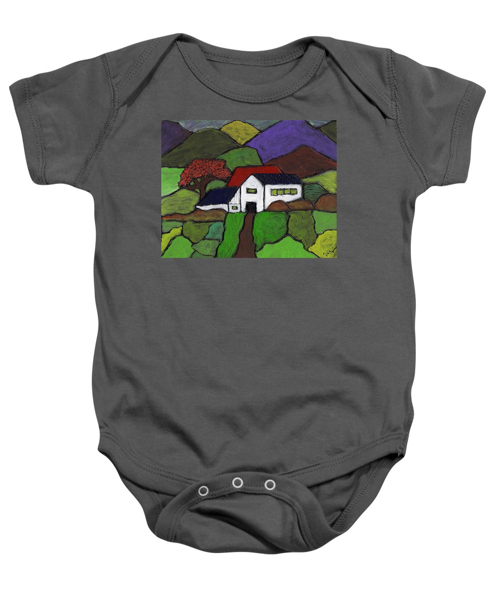 Rural Baby Onesie featuring the painting Early Autumn by Wayne Potrafka