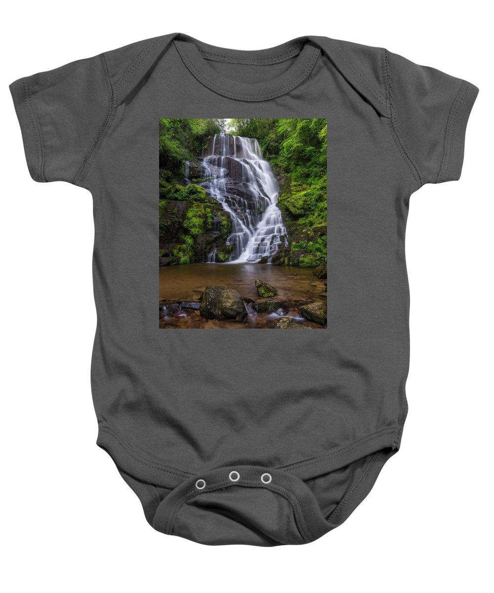 Eastatoe Falls Baby Onesie featuring the photograph Eastatoe Falls by Michael Little