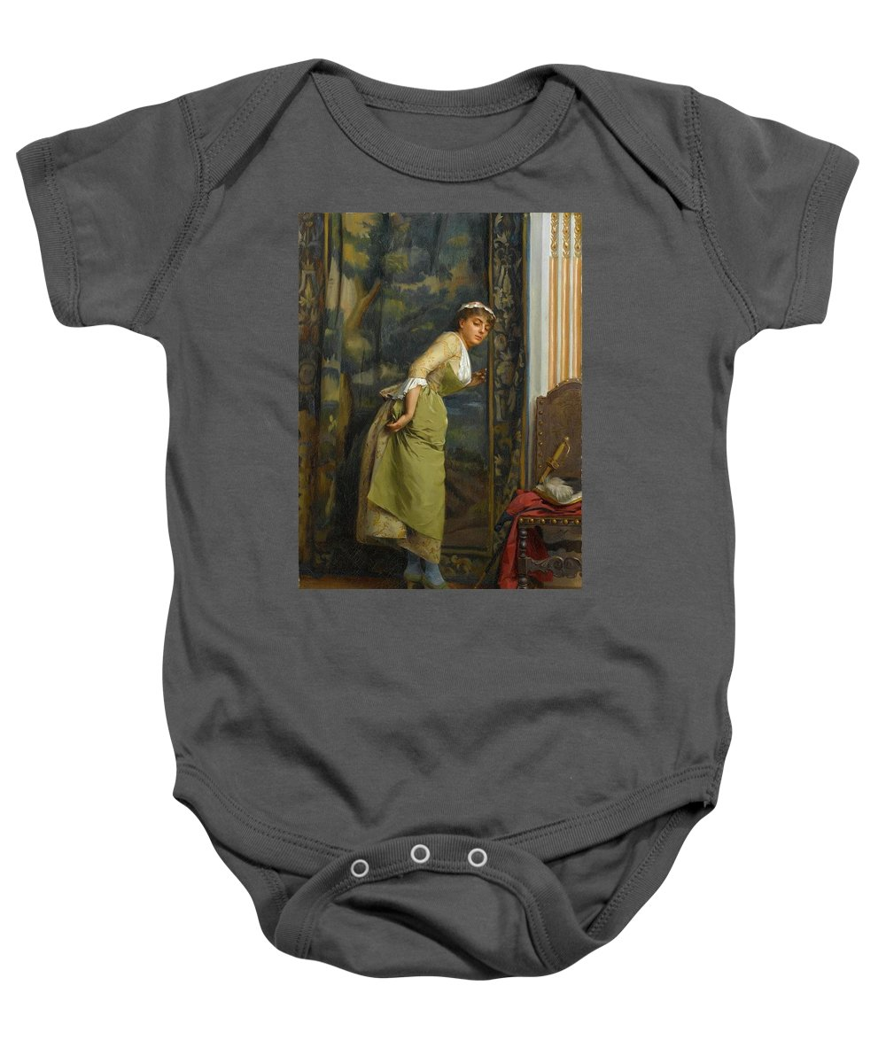 Theodoros Ralli (greek Baby Onesie featuring the painting Eavesdropping by Theodoros Ralli