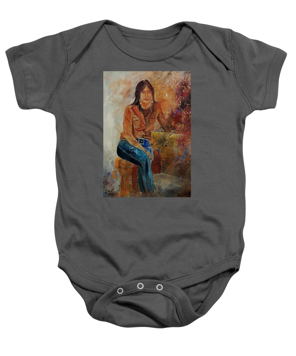 Girl Baby Onesie featuring the painting Eglantine 579001 by Pol Ledent