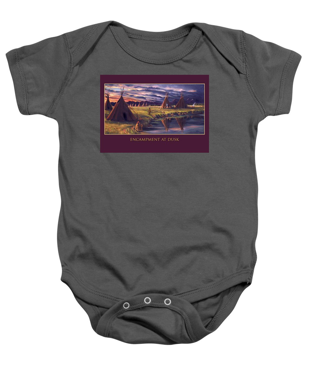 Indian Encampment Baby Onesie featuring the painting Encampment At Dusk by Nancy Griswold