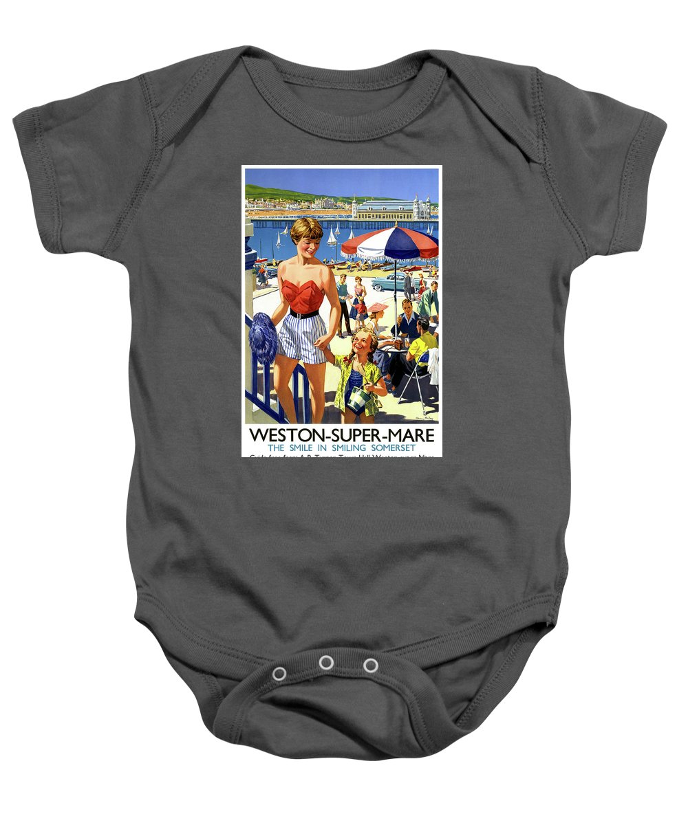 Vintage Travel Baby Onesie featuring the drawing England Weston Super Mare Vintage Travel Poster by Carsten Reisinger