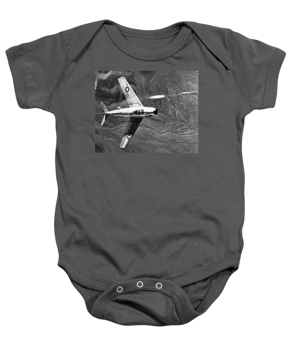1951 Baby Onesie featuring the photograph F-86 Jet Fighter Plane by Granger