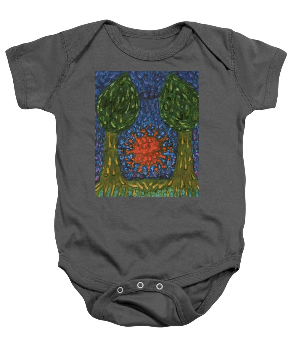 Colour Baby Onesie featuring the painting Farewell by Wojtek Kowalski