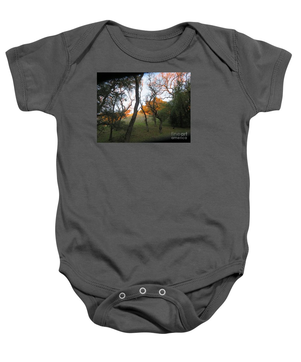 Landscape Baby Onesie featuring the photograph First Light by Suzanne Leonard
