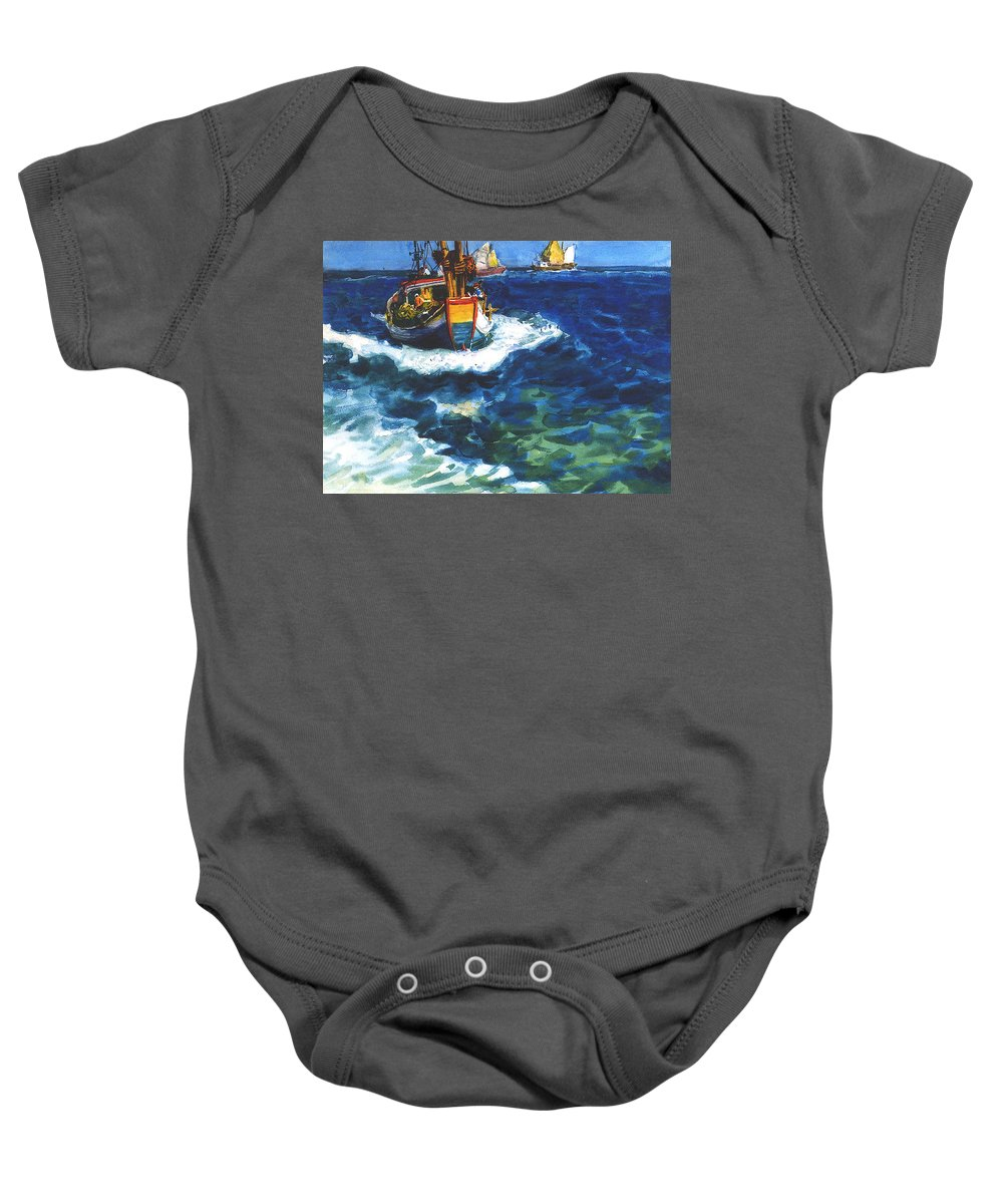 Fishing Baby Onesie featuring the painting Fishing Boat by Guanyu Shi