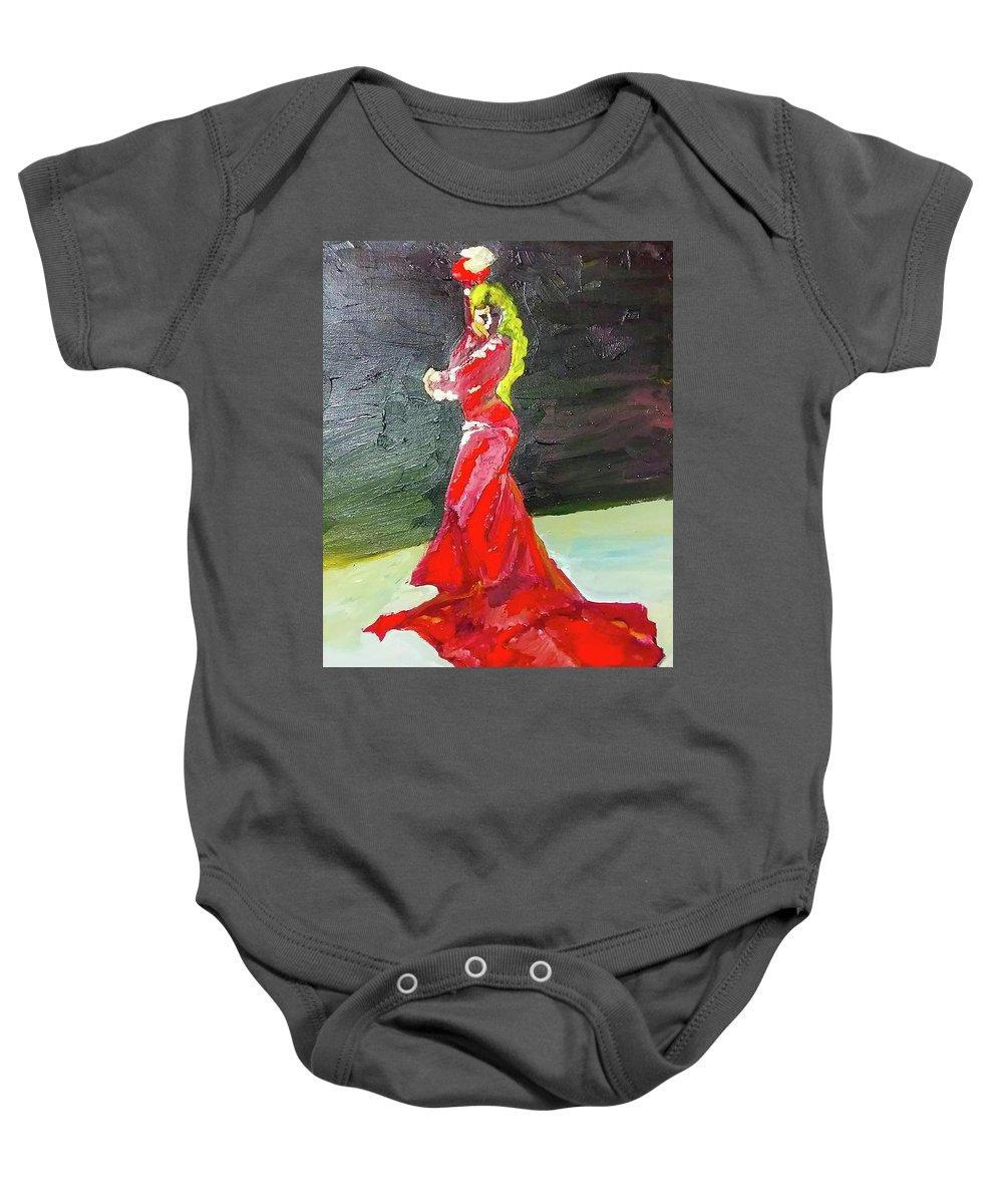 Flamenco Baby Onesie featuring the painting Flamenco by Maria Rom