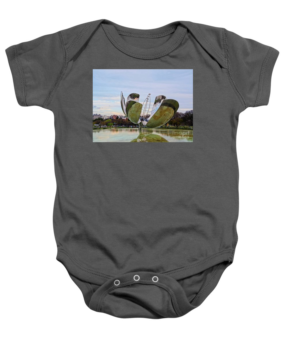 Argentina Baby Onesie featuring the photograph Floralis Generica, Buenos Aires, Argentina by Karol Kozlowski
