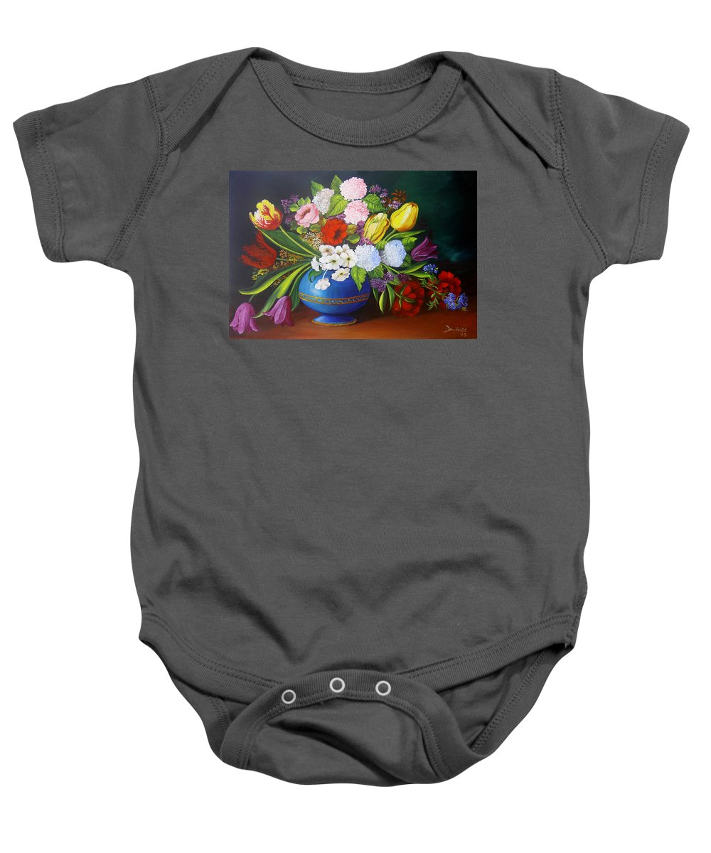 Colorful Baby Onesie featuring the painting Flowers In A Vase by Dominica Alcantara