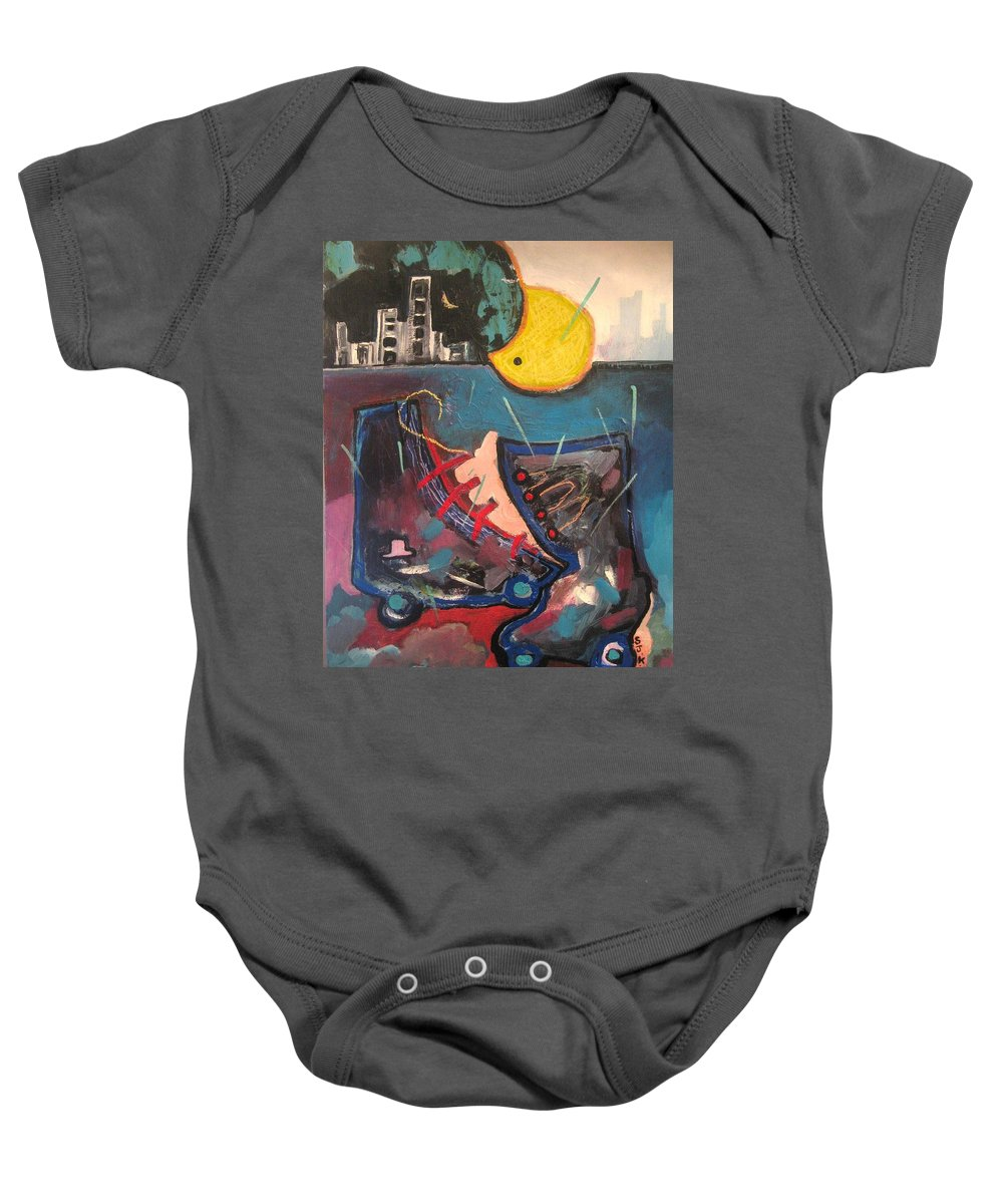 Abstract Paintings Baby Onesie featuring the painting Forgotten Days by Seon-Jeong Kim