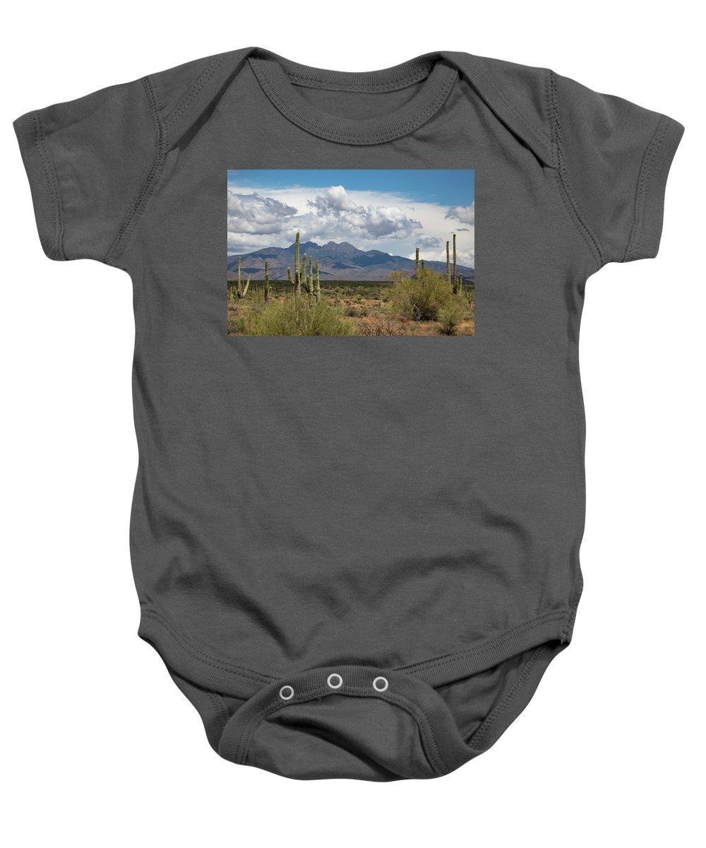 Arizona Baby Onesie featuring the photograph Four Peaks In May by Cathy Franklin