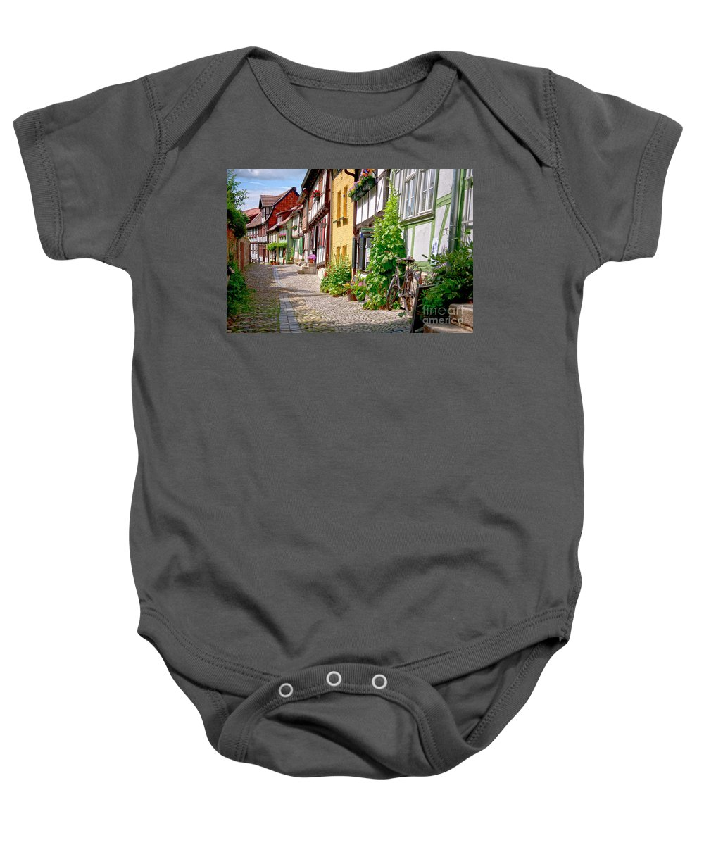 Quedlinburg Baby Onesie featuring the photograph German Old Village Quedlinburg by Heiko Koehrer-Wagner