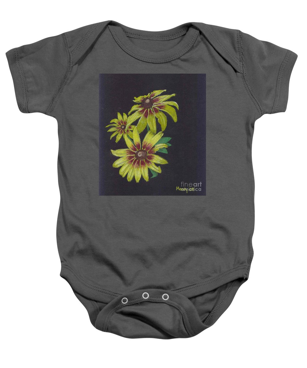 Daisy Baby Onesie featuring the pastel Gloriosa Daisy by Mendy Pedersen