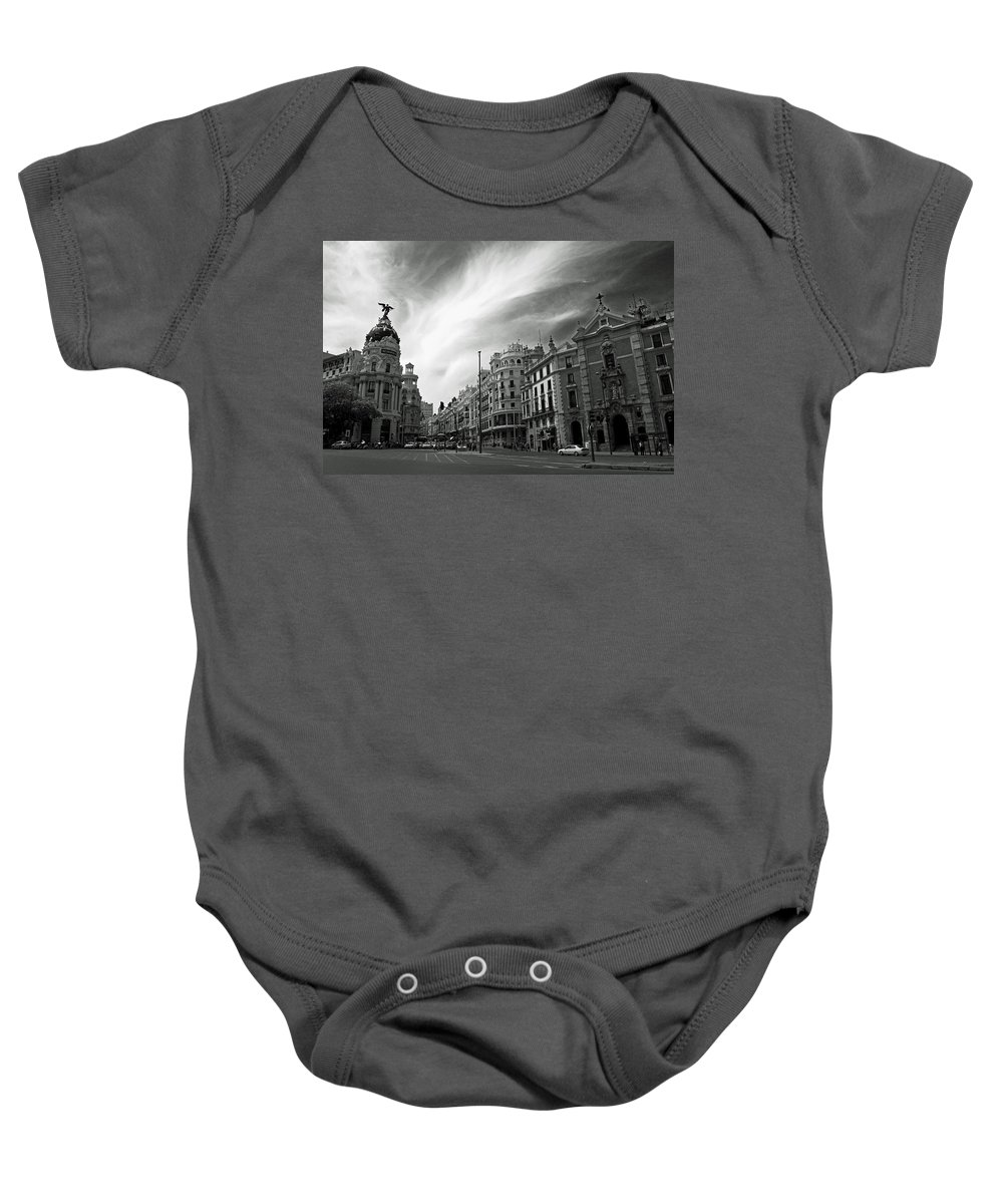 Madrid Baby Onesie featuring the photograph Gran Via by David Pringle