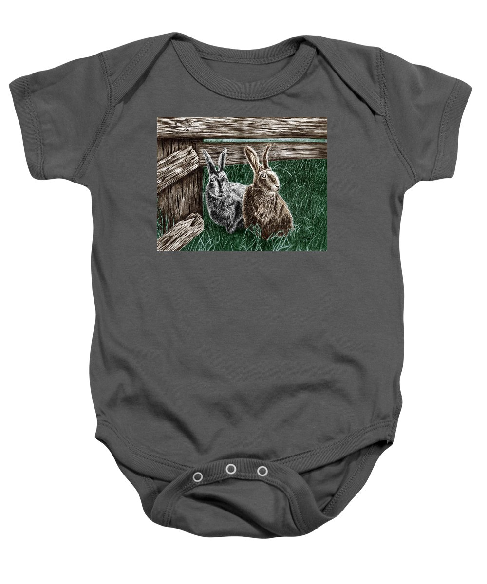 Hare Line Baby Onesie featuring the drawing Hare Line by Peter Piatt