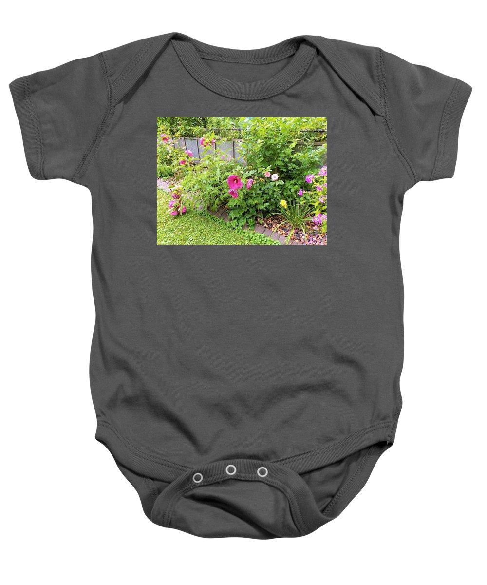 Hibiscus Baby Onesie featuring the photograph Hibiscus In The Garden by My Rubio Garden