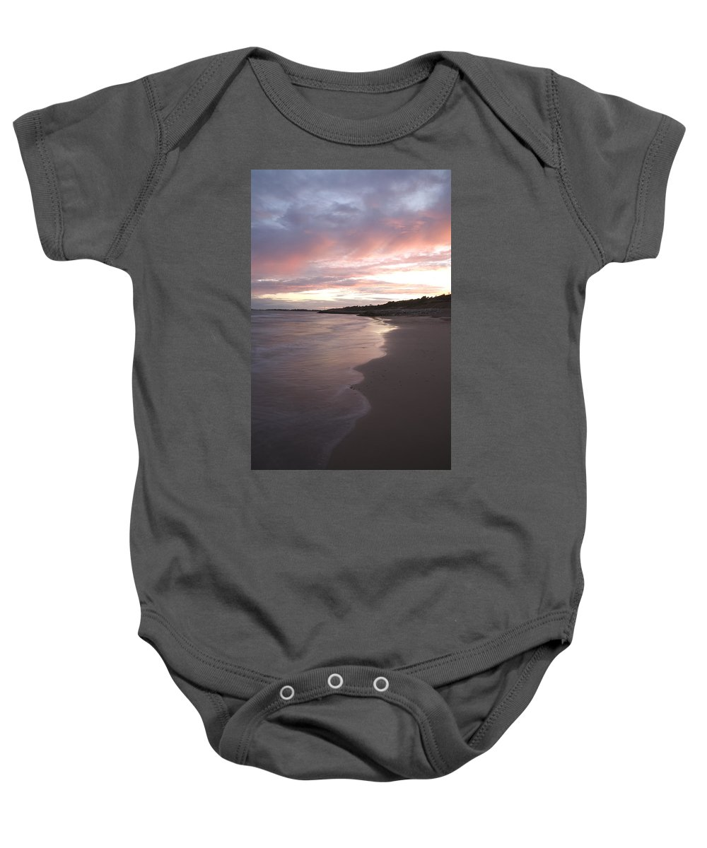 Highcliffe Baby Onesie featuring the photograph Highcliffe Beach At Sunset by Ian Middleton