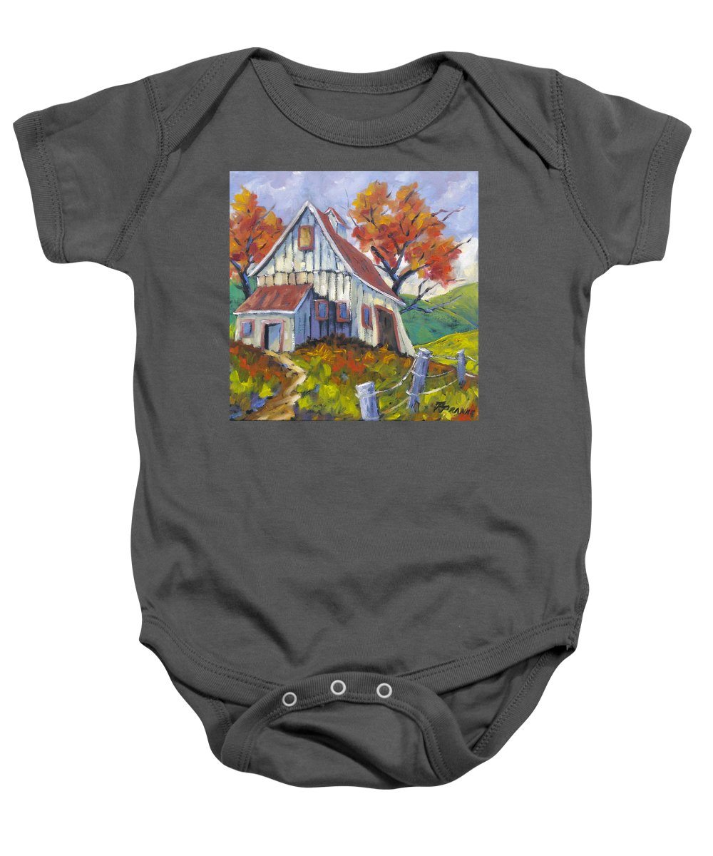 Hill Baby Onesie featuring the painting Hillsidebarn by Richard T Pranke