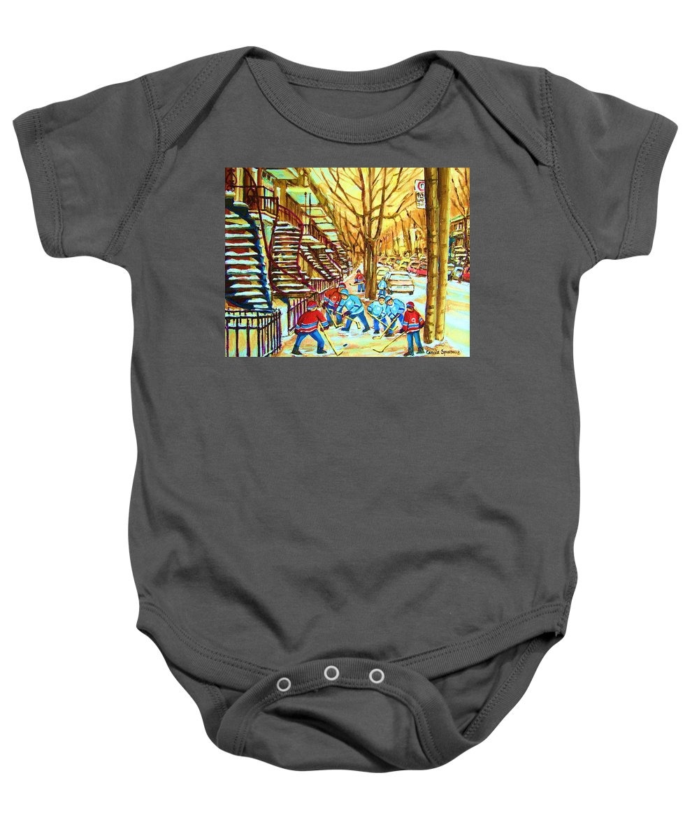 Montreal Baby Onesie featuring the painting Hockey Game Near Winding Staircases by Carole Spandau