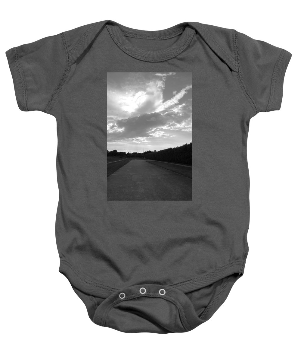 Black And White Baby Onesie featuring the photograph Homestead Sky by Rob Hans