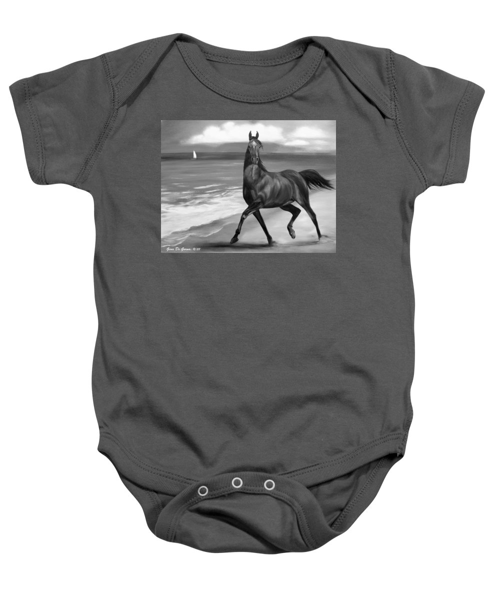 Horses Baby Onesie featuring the painting Horses In Paradise Dance by Gina De Gorna