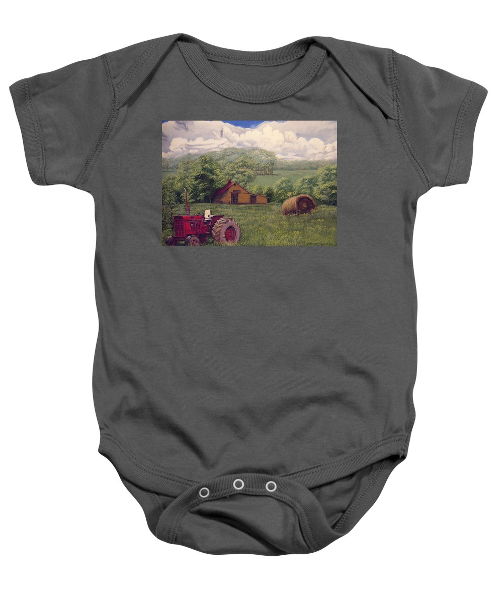 Landscape Baby Onesie featuring the painting Idle In Godfrey Georgia by Peter Muzyka