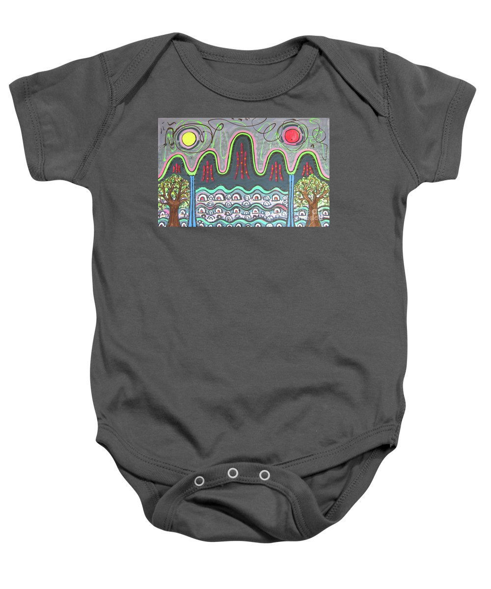 Sjkim Painting Baby Onesie featuring the painting Ilwolobongdo Abstract Landscape Painting by Seon-jeong Kim