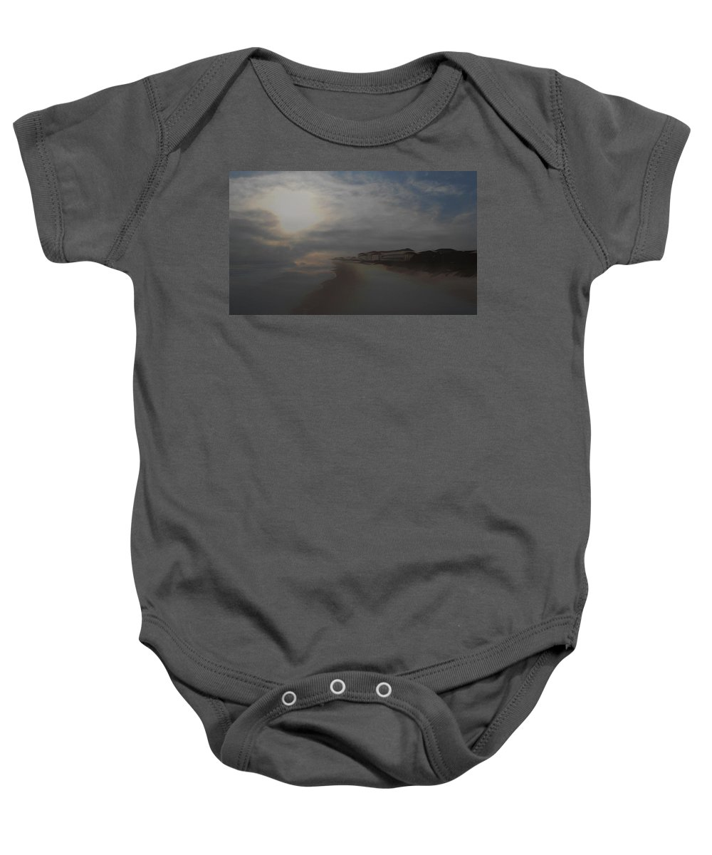 Beach Baby Onesie featuring the mixed media In The Misty Moonlight by Patricia Black