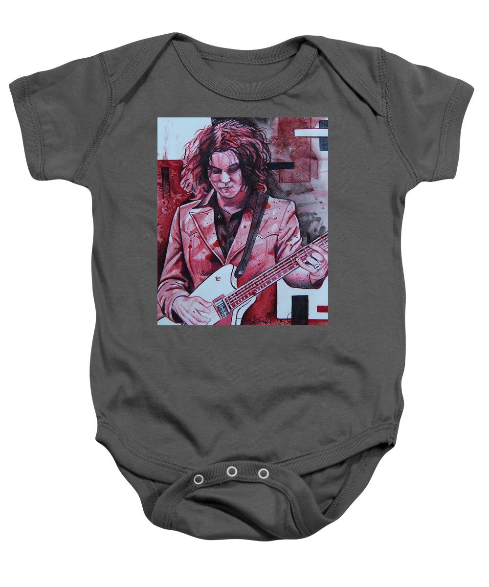 Jack White Baby Onesie featuring the drawing Jack White by Joshua Morton