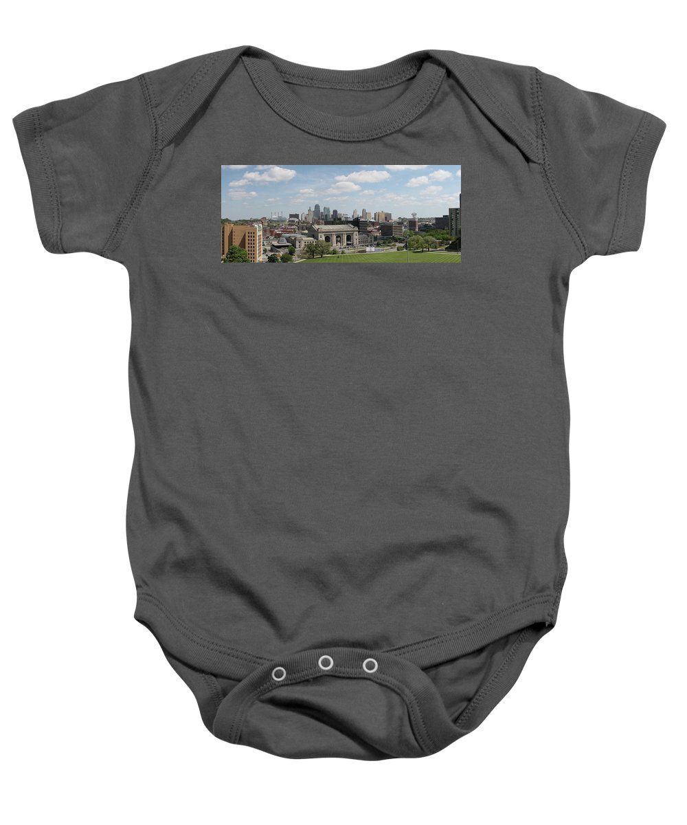 Kansas City Baby Onesie featuring the photograph Kansas City Skyline by Michael Munster