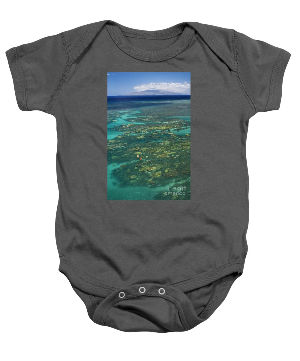 Above Baby Onesie featuring the photograph Kayaking Through Beautiful Coral by Ron Dahlquist - Printscapes