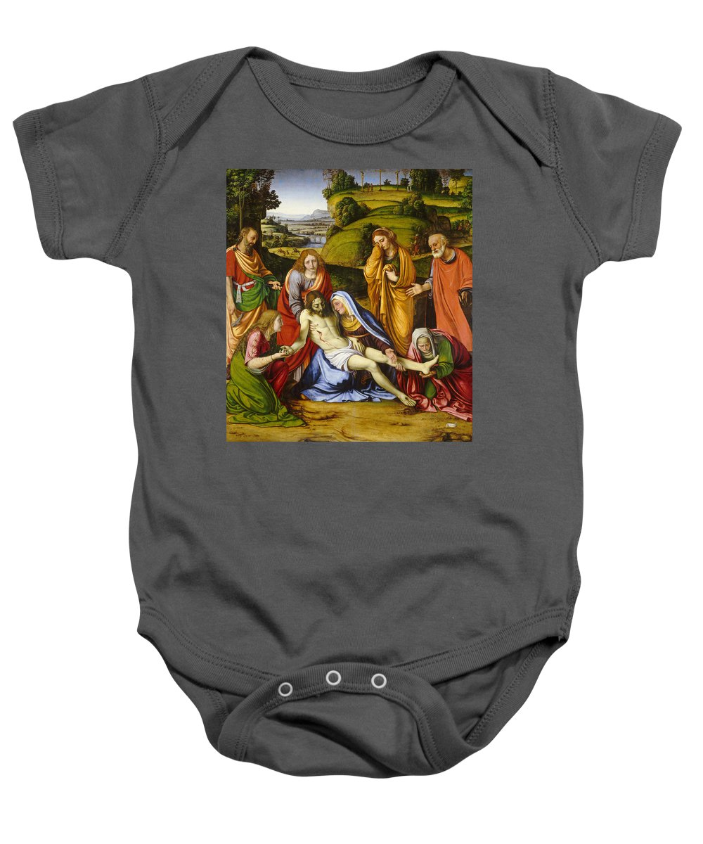 Christ Baby Onesie featuring the painting Lamentation by Andrea Solario