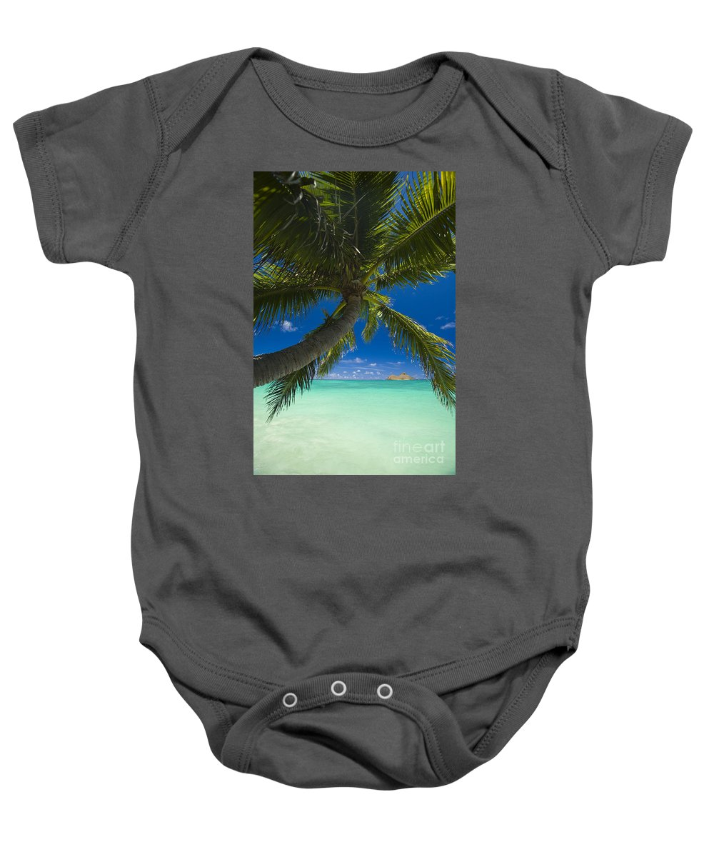 Afternoon Baby Onesie featuring the photograph Lanikai Palm Tree by Dana Edmunds - Printscapes