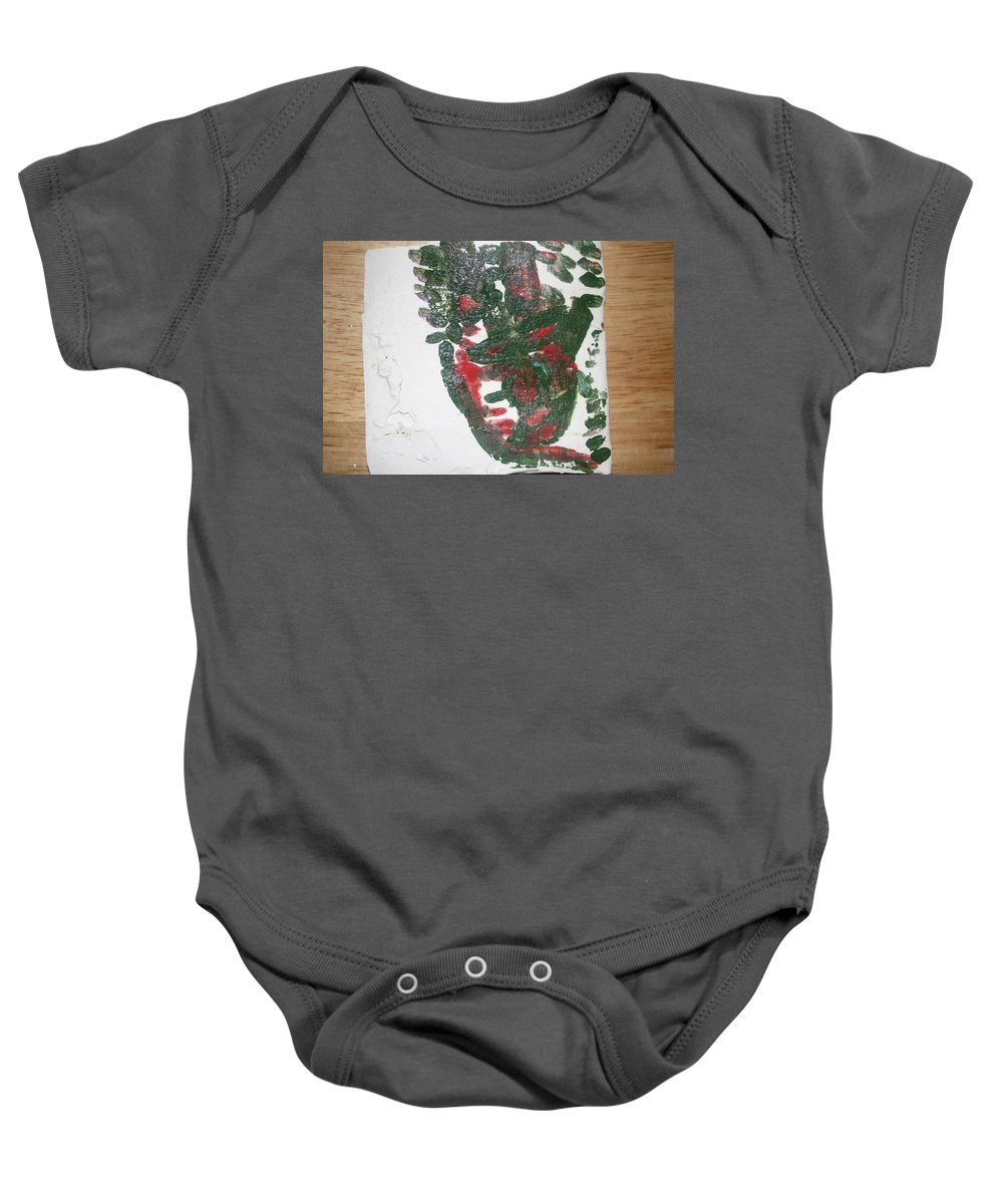 Jesus Baby Onesie featuring the ceramic art Lensa - Tile by Gloria Ssali