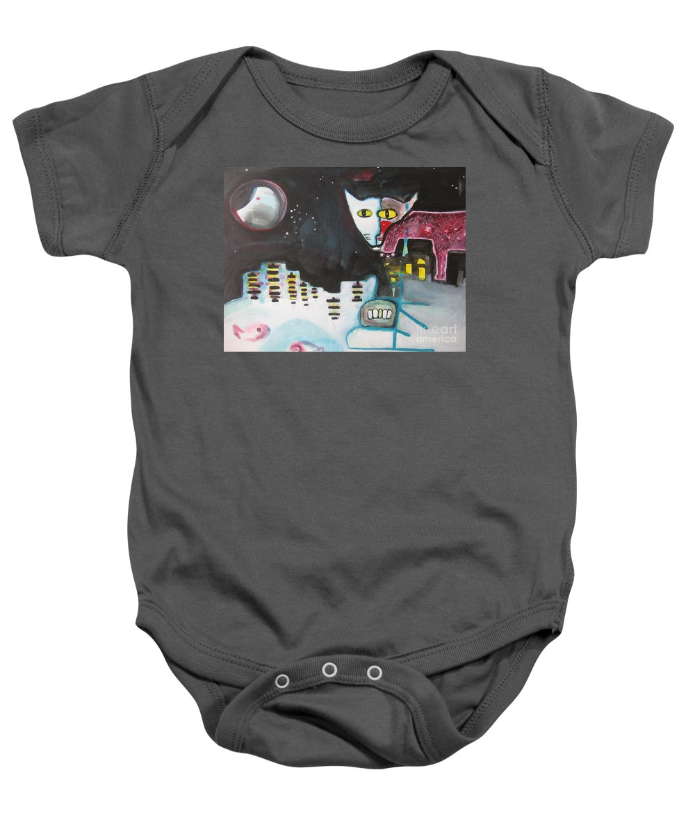 Cat Paintings Baby Onesie featuring the painting Let Me Out3 by Seon-Jeong Kim