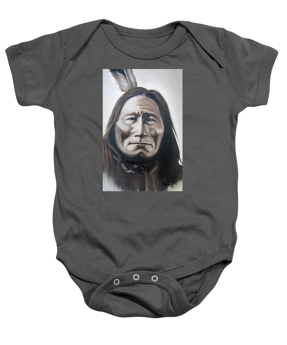 Long Bear Baby Onesie featuring the painting Long Bear by Michael TMAD Finney